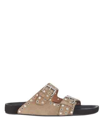 Lennyo Suede Slide Sandals, , hi-res