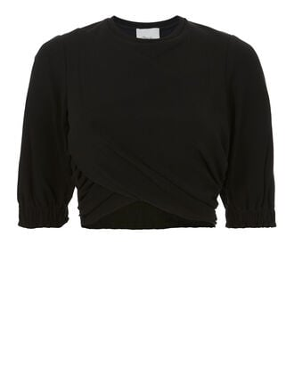 Twisted Cropped Tee, BLACK, hi-res
