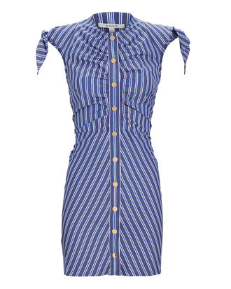 Ruched Striped Mini Dress, BLUE-MED, hi-res