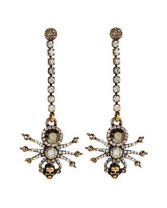 Spider Crystal Chain Earrings, GOLD, hi-res