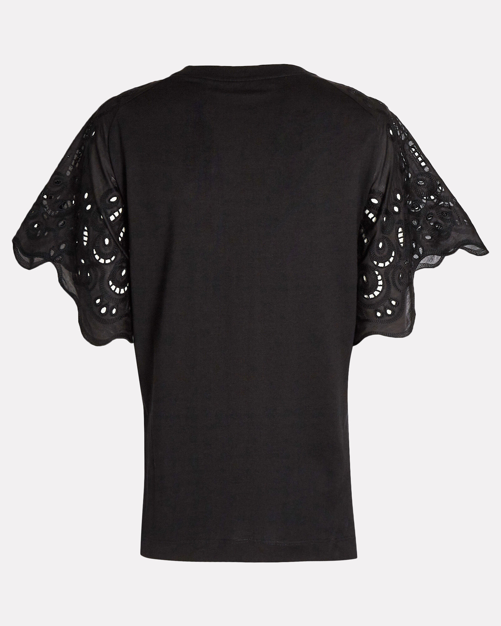 Cotton Eyelet Short Sleeve T-Shirt, BLACK, hi-res