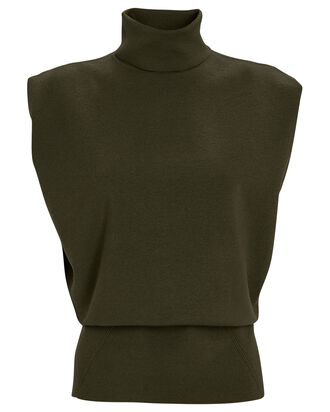 Military Sleeveless Turtleneck Top, OLIVE, hi-res