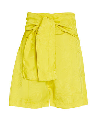 Limoncello Tie-Waist Jacquard Shorts, YELLOW, hi-res
