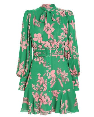 Tidale Island Floral Dress, GREEN/PINK, hi-res
