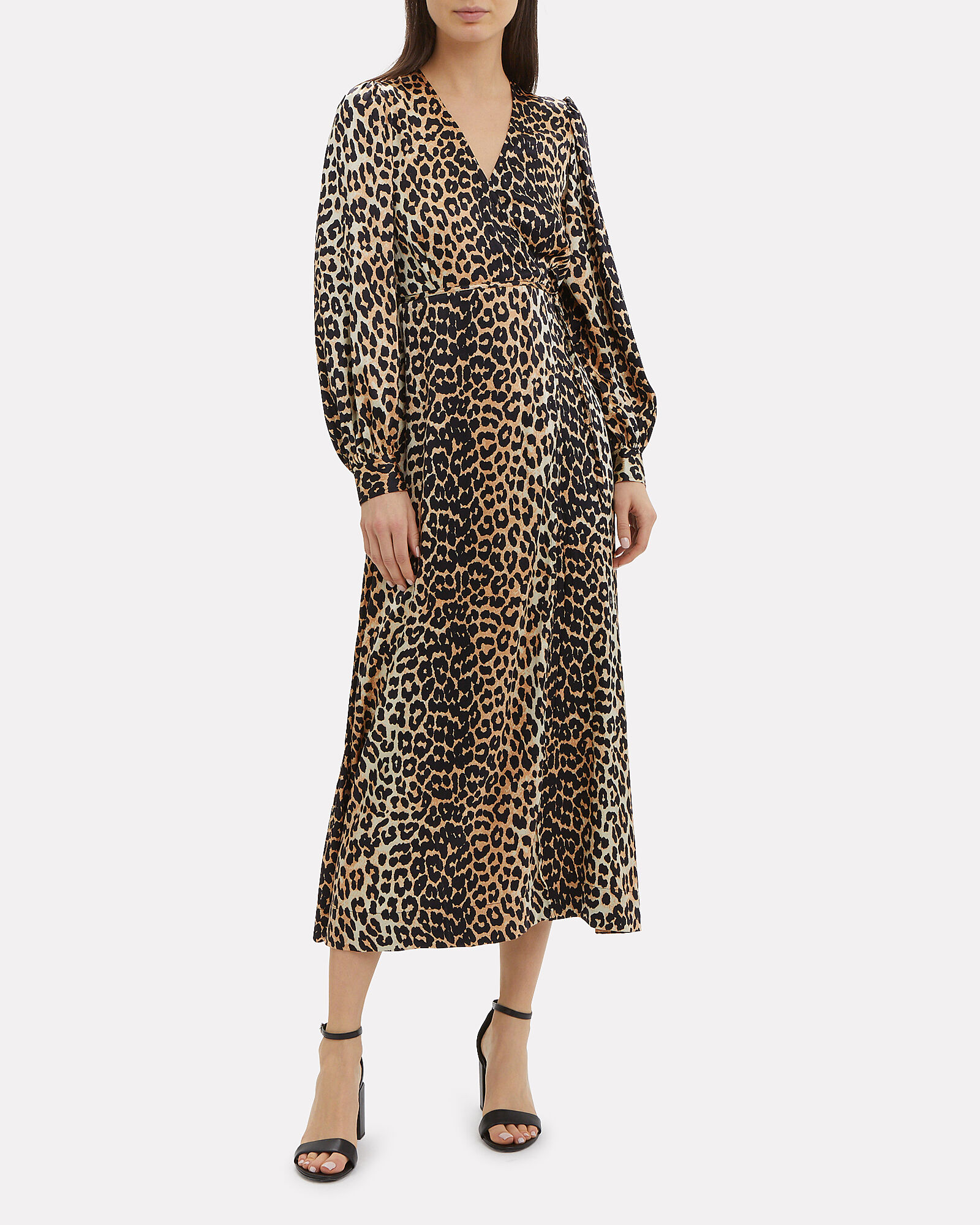 Leopard Print Satin Wrap Dress, MULTI, hi-res