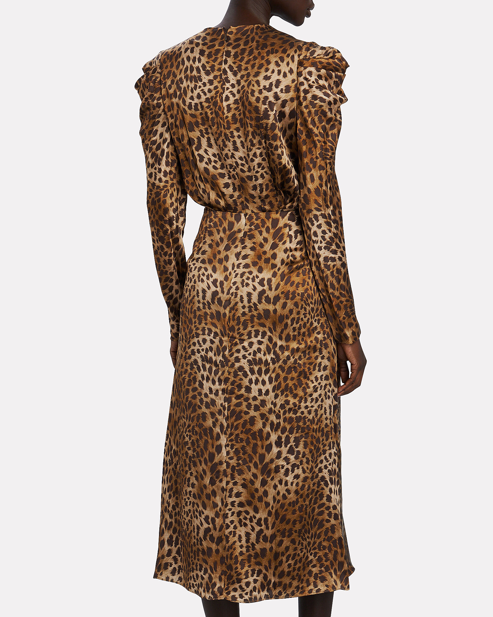 Maisie Leopard Print Midi Dress, BEIGE/BLACK, hi-res