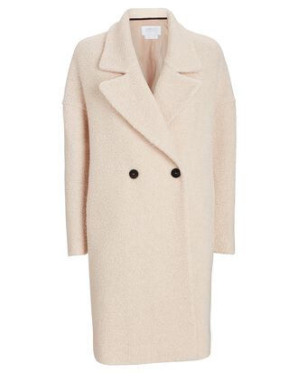 Bouclé Double-Breasted Coat, IVORY, hi-res