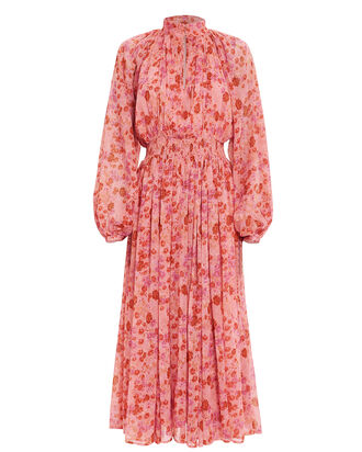 High Neck Floral Georgette Dress, PINK/FLORAL, hi-res