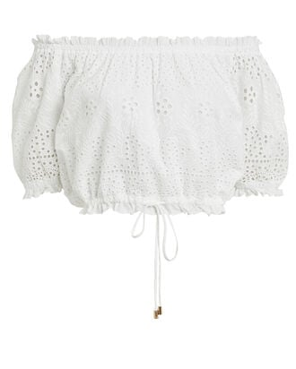 Francesca Off-the-Shoulder Eyelet Top, WHITE, hi-res