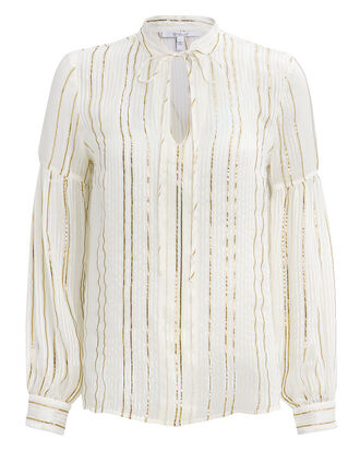 Lurex-Striped Blouse, IVORY, hi-res