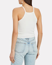 Cropped Rib Knit Tank Top, WHITE, hi-res