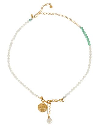 Verona Pearl Chain-Link Necklace, GOLD, hi-res