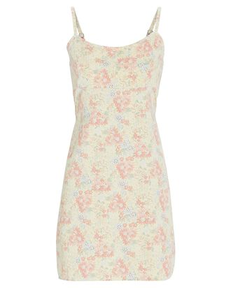 Floral Empire Waist Mini Dress, YELLOW, hi-res