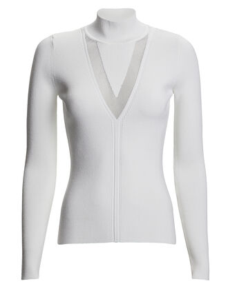 Rib Knit Turtleneck Top, WHITE, hi-res
