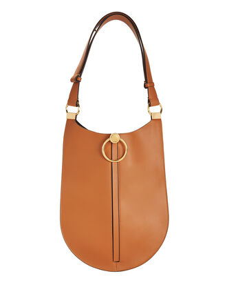Brown Leather Hobo Shoulder Bag, BROWN, hi-res