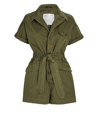 Surplus Belted Cotton Romper, OLIVE, hi-res