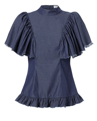 Frankie Ruffle Top, DENIM, hi-res