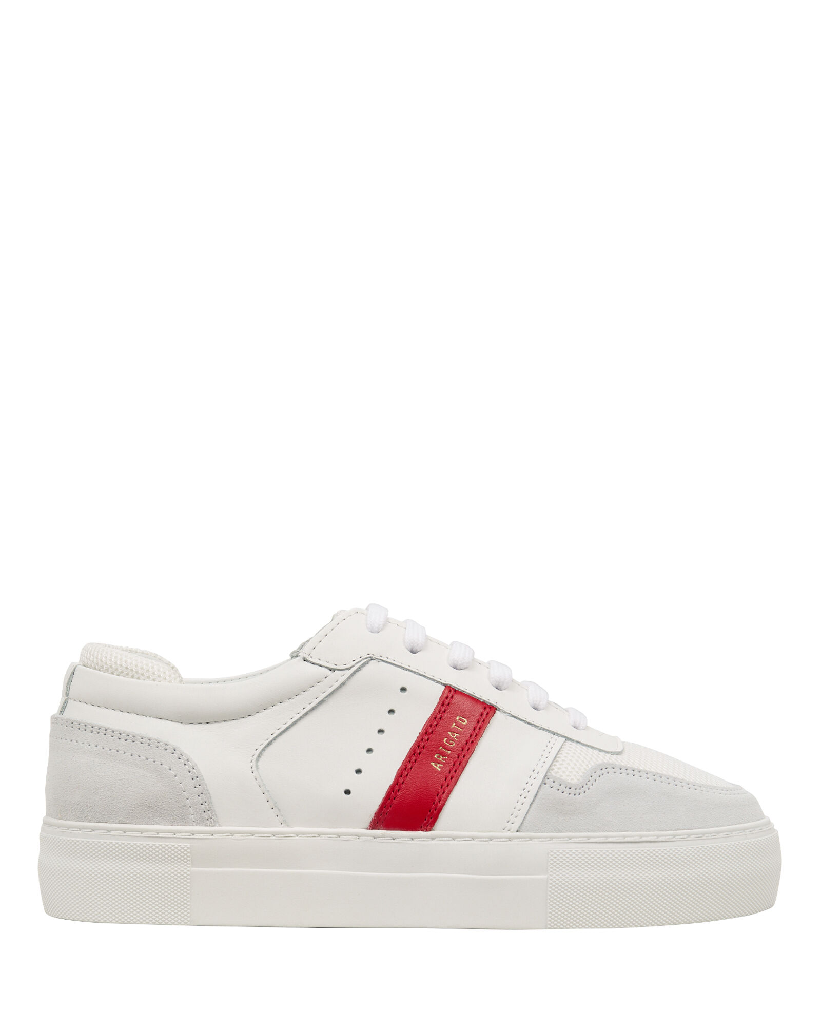 Platform Striped Leather Sneakers, WHITE, hi-res