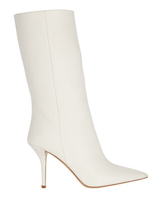 Pointed Toe Leather Booties, WHITE, hi-res