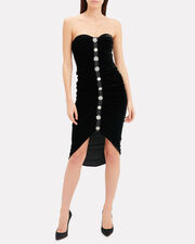 Palo Ruched Velvet Dress, BLACK, hi-res
