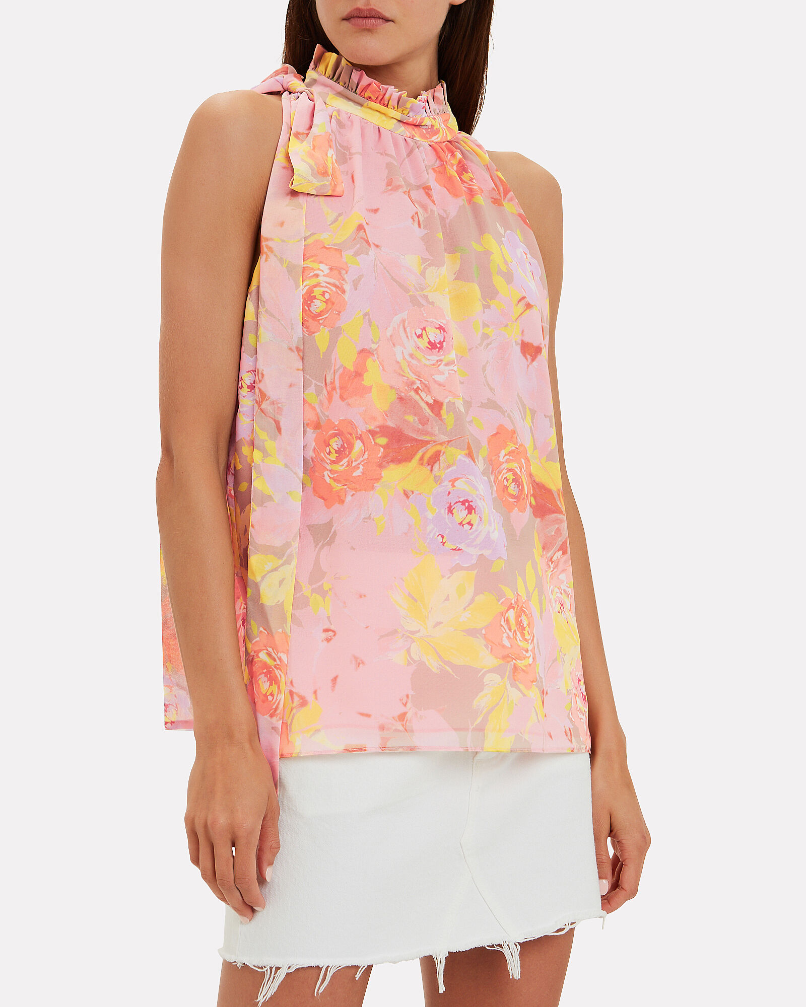 Valencia Floral Crepe Sleeveless Top, MULTI, hi-res