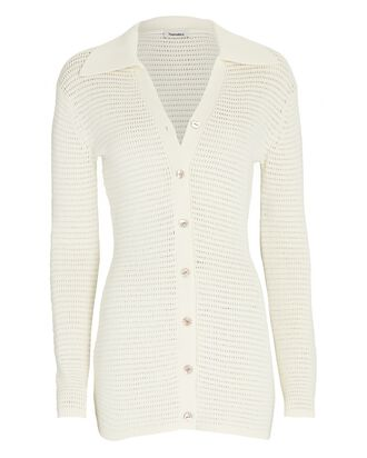 Evelyn Cotton-Blend Polo Cardigan, IVORY, hi-res