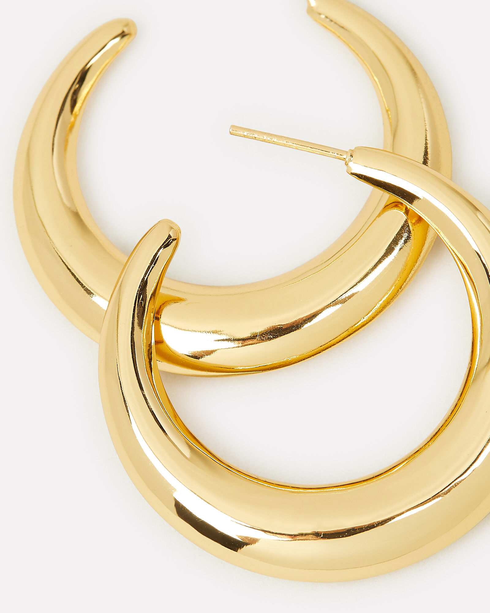 Chunky Crescent Moon Hoops, GOLD, hi-res