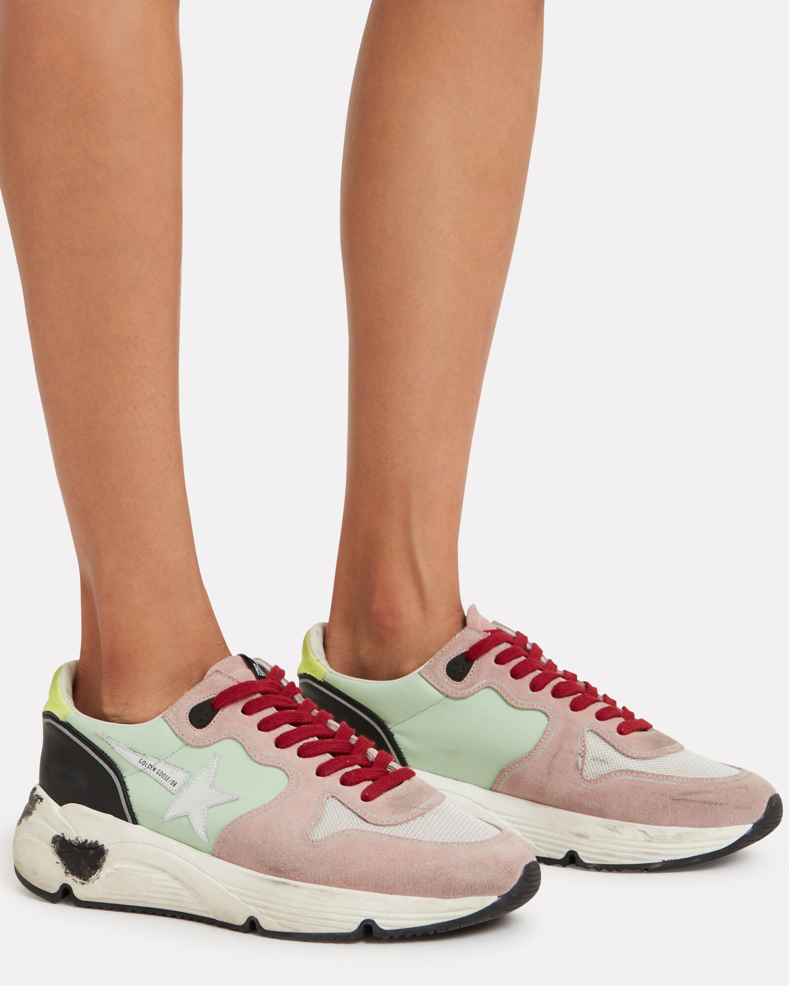 Running Sole Mesh & Leather Sneakers, MULTI, hi-res
