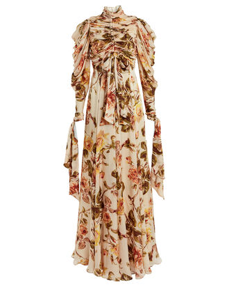 Resistance Ruched Silk Floral Dress, CREAM/FLORAL, hi-res