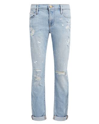 Le Garcon Splatter Jeans, LIGHT WASH DENIM, hi-res