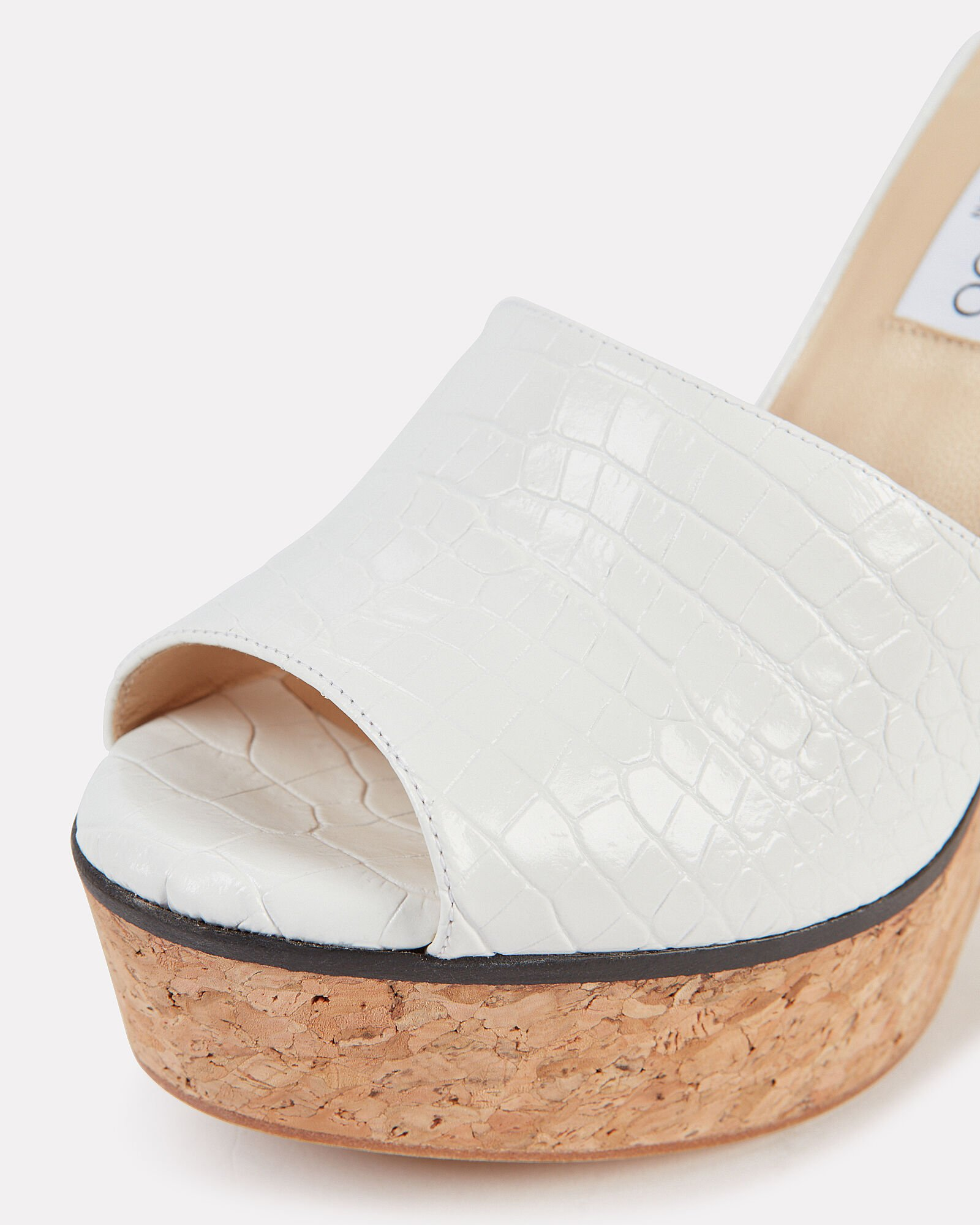 Deedee Croc-Embossed Platform Sandals, WHITE, hi-res