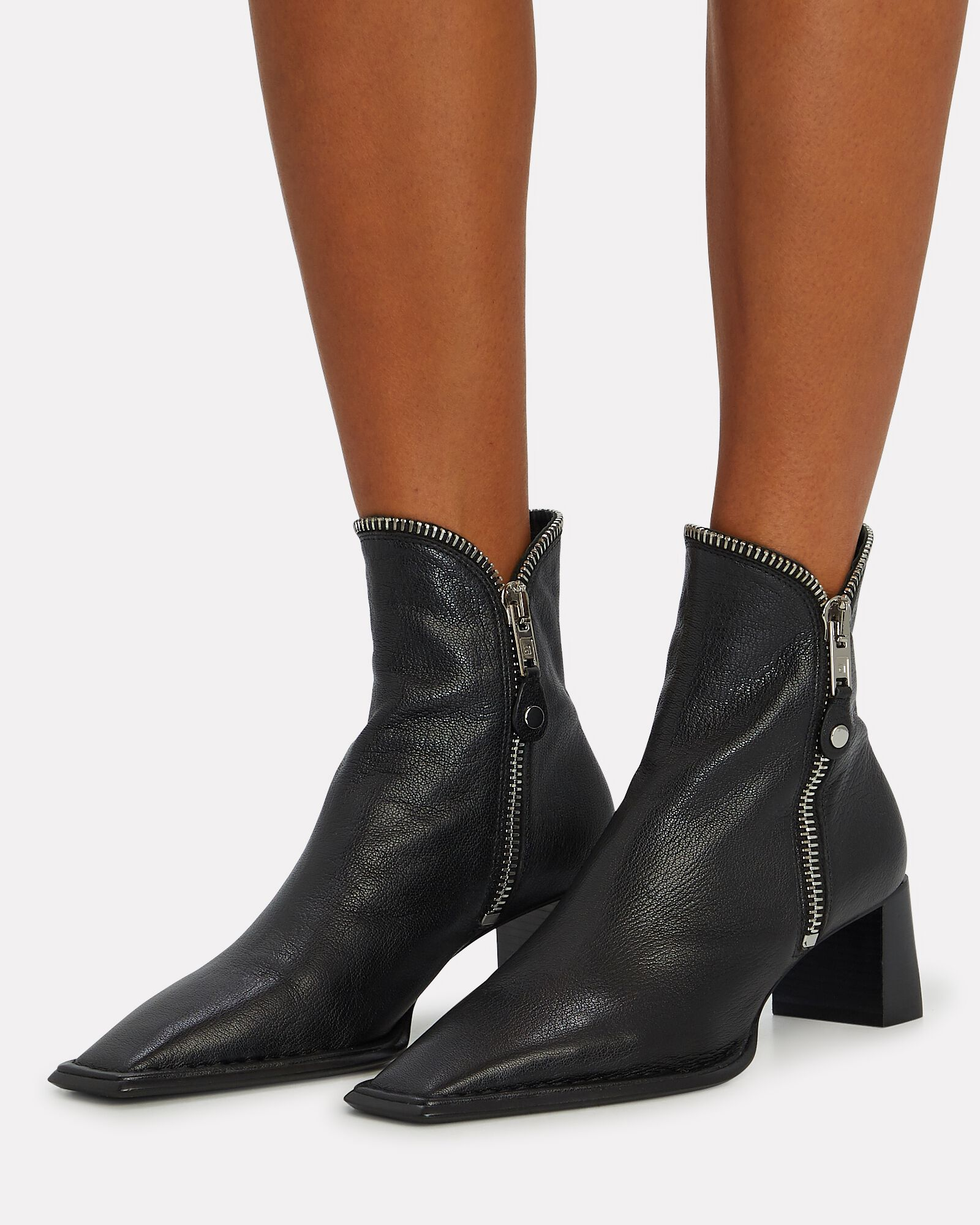 Lane Zip Leather Booties, BLACK, hi-res