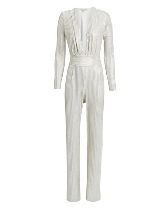 Plunge Neck Metallic Jumpsuit, LIGHT GOLD, hi-res
