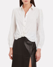 Etta Tie-Hem Cotton Blouse, IVORY, hi-res