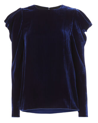 Velvet Drape Accent Top, NAVY, hi-res