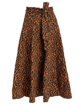 Esther Twill Pleated Skirt, ORANGE/BLACK, hi-res