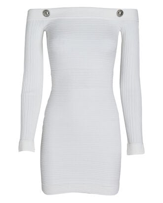 Off-The-Shoulder Ribbed Mini Dress, WHITE, hi-res