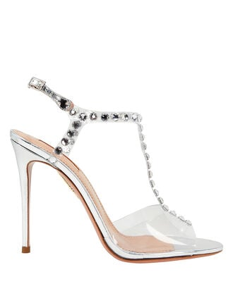 PVC Studded Shine High Sandals, SILVER, hi-res