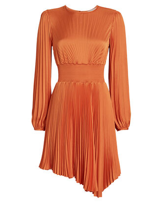Behati Pleated Asymmetric Dress, ORANGE, hi-res
