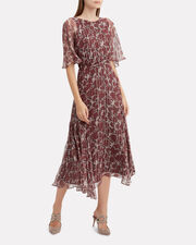 Paradise Silk Chiffon Midi Dress, RED-DRK, hi-res