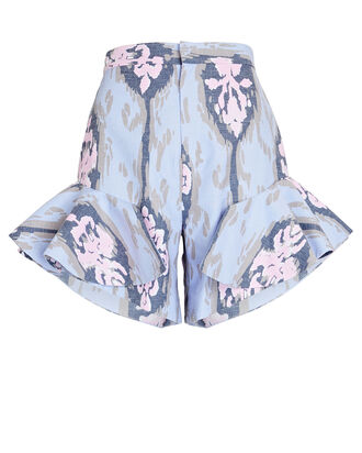 Mariposa Ruffled Ikat Shorts, LIGHT PURPLE, hi-res