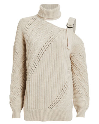 Strapped Merino Turtleneck Sweater, IVORY, hi-res