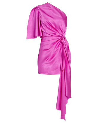 Marcie Ruched Satin Dress, PURPLE, hi-res