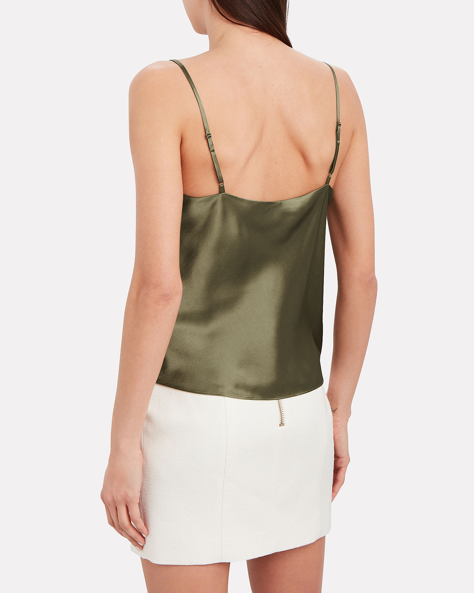 Fayette Cowl Neck Silk Camisole, OLIVE, hi-res