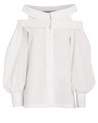 Aida Cotton Poplin Blouse, WHITE, hi-res
