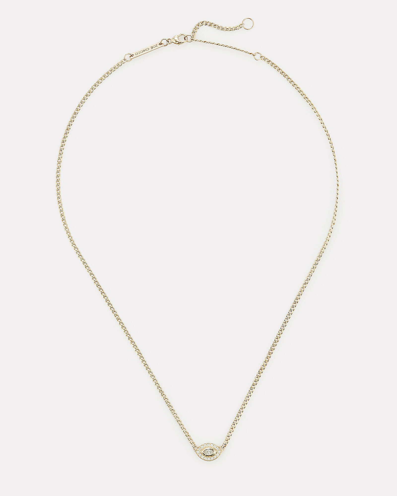 Marquis Diamond Halo Necklace, GOLD, hi-res