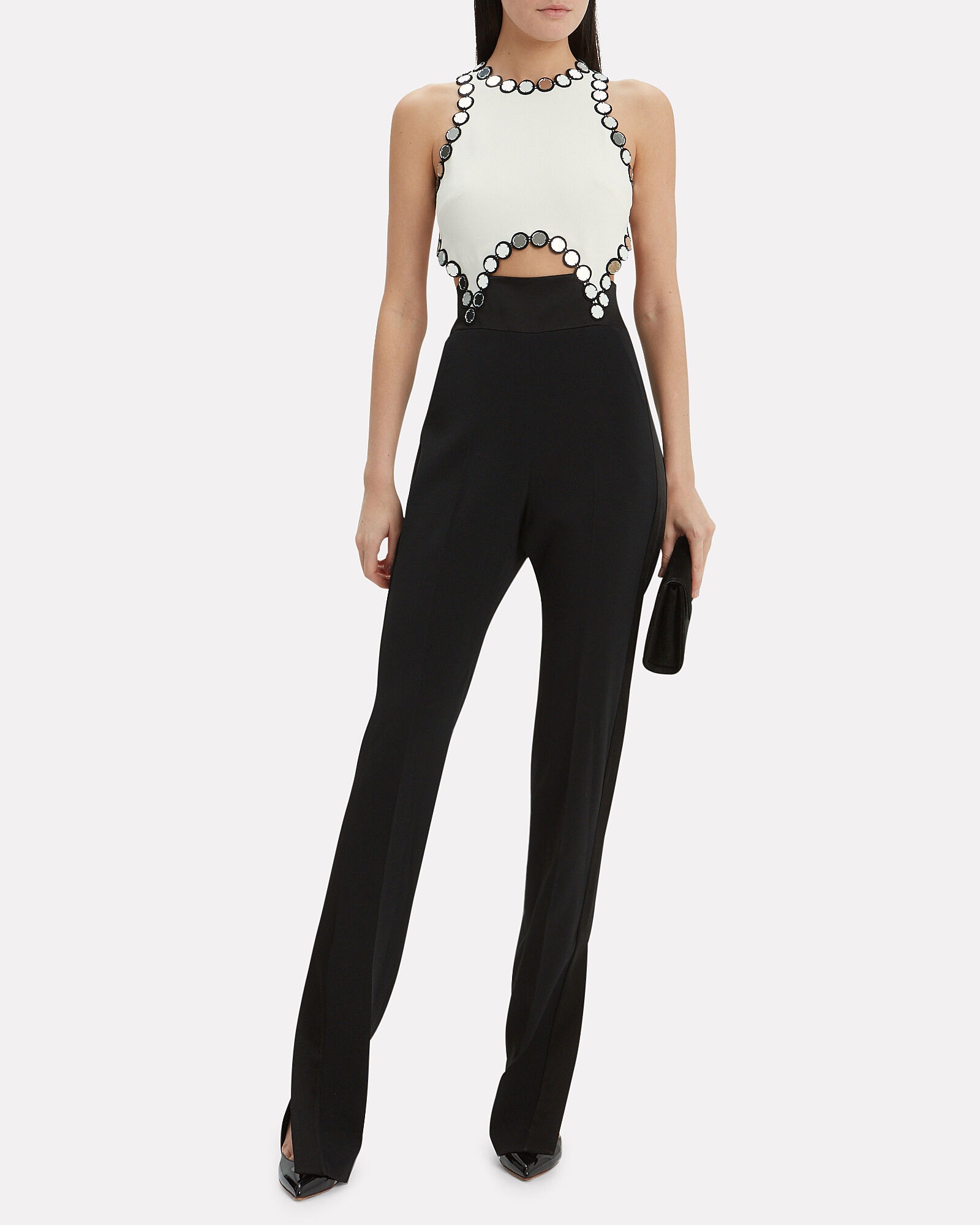 Mirror Embellished Colorblock Jumpsuit, BLK/WHT, hi-res