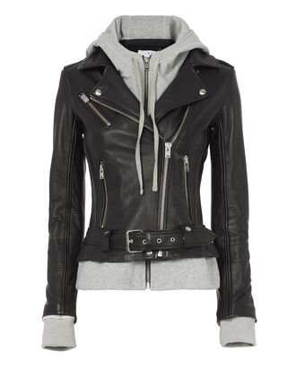Harper Combo Leather Jacket, BLACK, hi-res