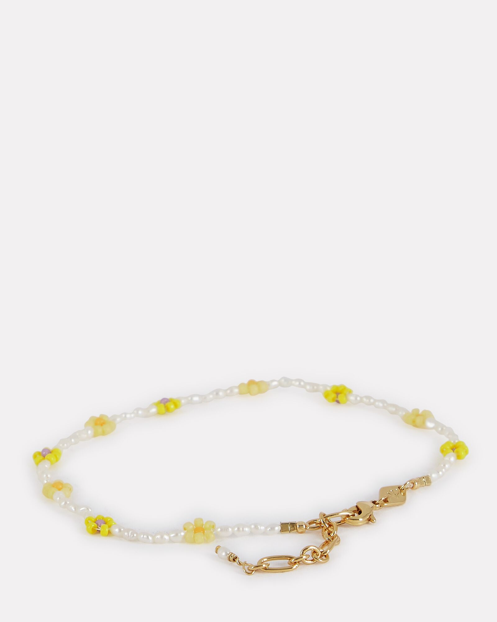 x TERRY Flower Beaded Anklet, YELLOW, hi-res