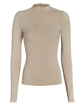 Zane Jersey Turtleneck Top, BEIGE, hi-res